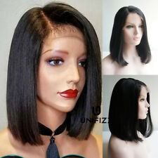 14 inches Schwarze 1B Lace Front Wig Cosplay Gothic Damenhaar Hitzefest + Kappe