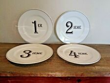 Kiss That Frog Set of 4 Ceramic French Numbered Desert Salad Plates 1 2 3 4
