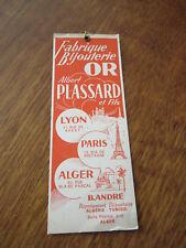 MARQUE PAGE  FABRIQUE BIJOUTERIE OR ALBERT PLASSARD PARIS LYON ALGER