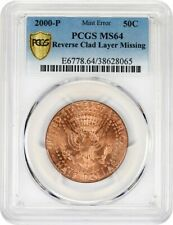 Mint Error: 2000-P 50c PCGS MS64 (Reverse Clad layer Missing)