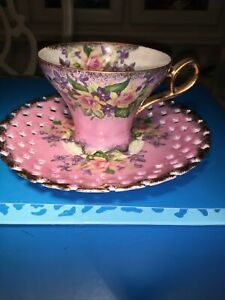 Vintage Mid Century Royal Halsey Reticulated Tea cup & Saucer Lusterware Roses