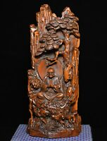 Chinese Buddhism Boxwood Wood Carved Arhat Damo Bodhidharma Dharma Buddha Statue