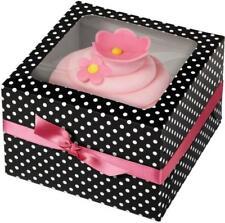 Wilton Set 3 scatole portamuffin nere a pois bianchi, per cupcakes, cake design