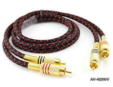 3ft CablesOnline 2-RCA Male to Male Gold-Plated Flexible Woven Audio Cable