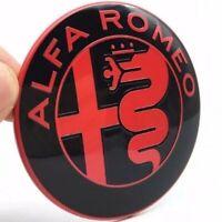 2 FREGI STEMMA ALFA ROMEO Rosso Nero LOGO 74mm COFANO ANTERIORE POSTERIORE