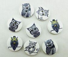 "Pkg of 10 OWLS 2-hole White Wood Buttons 11/16"" (18mm) Scrapbook Craft (1180)"
