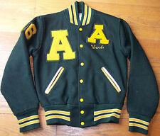 vintage 1986 Athens HS school varsity jacket Ohio green yellow wool sports small