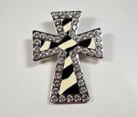 BHW Rhinestone Cross Crucifix Pendant Blingy Zebra Print Rhinestone Encrusted