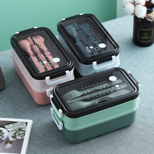 Food Storage Containers Lunch Box Bento Microwave Stainless Plastic Portable Box