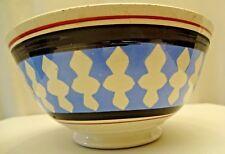 MOCHAWERE POTTERY BOWL GEOMETRIC DESIGN BLUE SPONGEWARE PORCELAIN COLLECTIBLE#18