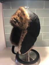 Canadian Made For RCMP Trapper Aviator Muskrat Fur Hat LOGISTIK Size Small