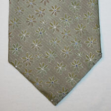 NEW Alfani Silk Neck Tie Olive Green with White and Blue Dotted Florals 1427