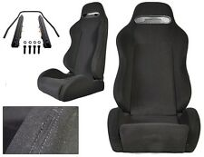 NEW 1 PAIR BLACK CLOTH & BLACK STITCHING ADJUSTABLE RACING SEATS CHEVROLET !!