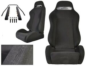 NEW 1 PAIR BLACK CLOTH BLACK STITCHING ADJUSTABLE RACING SEATS FOR CHEVROLET !!
