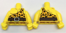 2 LEGO Yellow Torso Bright Light Orange Shirt with One Strap and Leopard Spots