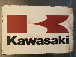 Retro Sign Motor Beer Spirits Garage Cave Bar Cafe Shed 30cm x 20cm KAWASAKI