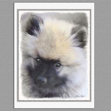 6 Keeshond Puppy Portrait Blank Art Note Greeting C