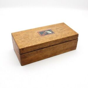 HIS MASTER'S VOICE / NIPPER - Hinged Wooden Box for Gramophone Sound Box Storage