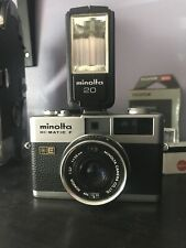 Minolta Hi-Matic F 35 mm Rangefinder Film camera w/flash,case