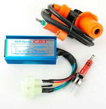 Racing CDI Box 6 Pin + Ignition Coil +Spark Plug for GY6 50-150cc Moped Scooter