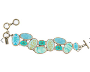 NEW JILZARA Pemium Handmade Clay Bead MONTEGO BLUE COBBLESTONE TOGGLE Bracelet