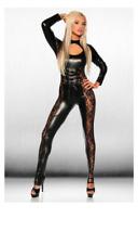 Ladies Faux Leather Black  Catsuit Jumpsuit HALLOWEEN Bodysuit  Size 8-14 5279