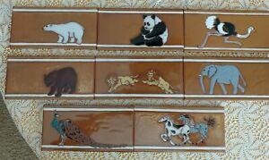 "Choose 1 Hand Glazed Animal Art Ceramic Border Accent Tiles 4"" X 8"""