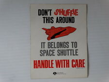Vintage Space Shuttle Handle With Care NASA Rockwell Decal Sticker Flight Team