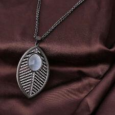 Vintage Black Alloy Rhinestone Leaves Pendant Women Fashion Long Chain Necklace