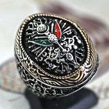 925 Sterling Silver Mens Ring Ottoman Empire Coat of Arms Turkish Ottoman
