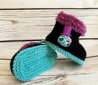 Baby Goth Emo Punk Hand Knitted Crochet Booties Boots Skull Brain Zombie 0-12M