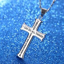 Stainless Steel Silver Color Christian Men's Through Christ Iron Cross Necklace