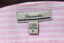 Faconnable Gentleman's S Pink & White Striped Linen LS Summer Shirt - $186.00