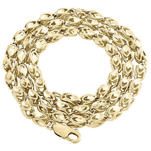 """10K Yellow Gold 3D Turkish Rope Fancy Link 3.70mm Chain Statement Necklace 26"""""""
