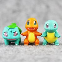 3 Pcs/Set Pokemon Charmander Bulbasaur Squirtle PVC Mini Figure Model Toy