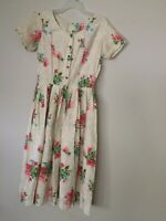 Vtg 1930s Faye Robin Pleated Waist Bodice Cotton Flora Dress Sz 6-Measurements