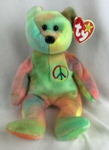 "1996 TY Beanie Babies ""Peace"" Rainbow Bear Original P.E. Pellets Red Stamp Error"