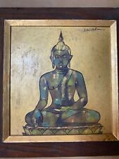"Vintage S Srivichien ""Seated Buddha Scene"" Oil Painting - Signed And Framed"