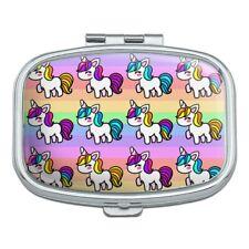 Cute Kawaii Unicorns Pattern Rectangle Pill Case Trinket Gift Box