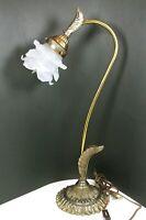 Art Nouveau Brass Gooseneck Tulip Botanical Design Table Lamp Stunning