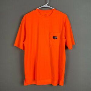 Walls Safety Orange Hi-Vis Work Wear Pocket Tee T-Shirt Medium