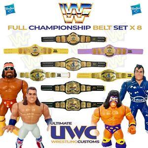 WWF WWE Retro Wrestling Belt Set x 8 for Hasbro / Mattel / Jakks Figures