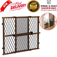 Baby Gate Safety Fence Child Protection Wood Door Dog Cat Pet Barrier Dark Wood