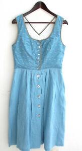 Damen Trachten Kleid ärmellos Leinen blau Gr. 42 v. Christa Moden