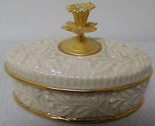 Lenox Porcelain Trinket Box March Aquamarine Stone Finial Birthstone Collection