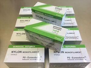 10 Pakete Nylon 6-0, 75cm, 12mm schneidend, 12 Folien, Nahtmaterial, Sutures