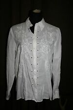 C.L.C.  SIZE 14 WHITE LONG SLEEVE BUTTON FRONT CUT OUT EMBROIDERED SHIRT