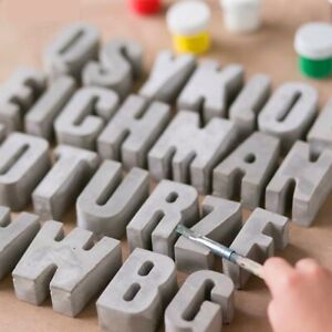 Alphabet Concrete Silicone Molds Cement Capital Letters Number Cake Resin Mold