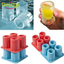 4-Cup Ice Cube Shot Shape Rubber Shooters Glass Freeze Mold Maker Tray Party