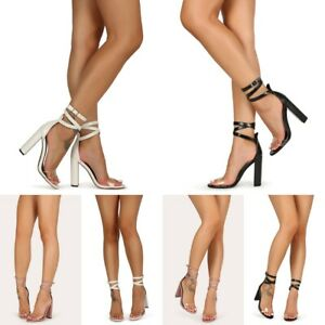 """4.5"""" Wrap Ankle Strap Transparent Clear Lucite Open Toe Chunky Heel Size H170"""